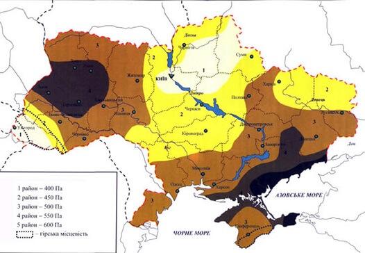 Карта ветровой нагрузки Украины